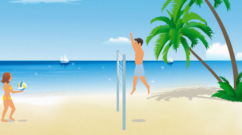Пляжный волейбол.  В игре интересное управление.  Три кнопки (влево, прыжок, вправо) отвечают за передвижение...